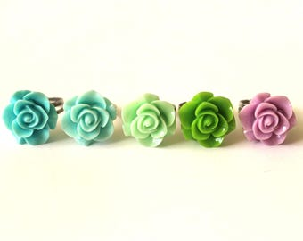 Flower Ring, Rose Ring, Romantic Ring, Adjustable Ring, Teen Ring, Pastel Ring, Floral Ring, Cute Ring, Blue Ring, Green Ring, Purple Ring