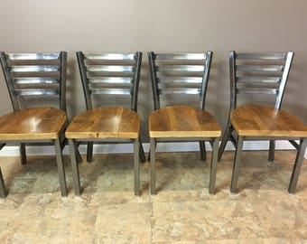 Reclaimed Dining Chair| Set of 4 | In Gun Metal Gray Metal Finish | Ladder Back Metal | Restaurant Grade -18 Inch High Dining Chair