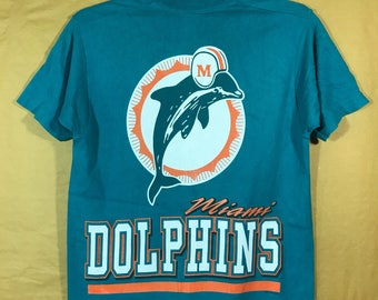 90s Vintage 1995 Miami Dolphins Nfl Team T-shirt Adult Medium Size