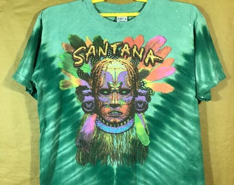 SANTANA shaman Rivers Of Colors Tye Dye T-shirt Adult Medium Size