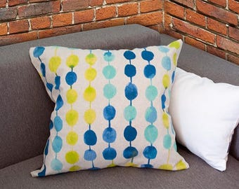 Pre Independence day Sale Housewarming gift, Geometric pattern balls linen pillow 18x18, Gray Blue turquoise lemon gradient balls, modern...
