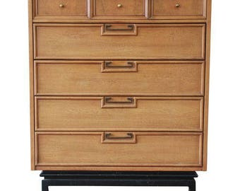 Mid-Century Modern Chinoiserie Highboy Dresser by Merton Gershun for American of Martinsville