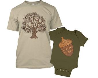 Big Oak t-shirt and Little Acorn baby grow - Matching Combo Set