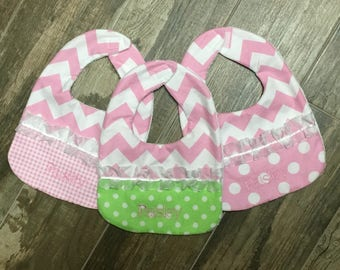 3 Embroidered, Personalized Baby bibs, Pink and Green Baby Bibs, Boutique Baby Bibs
