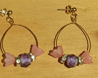 Gold Earwire Pink and Purple Floral earrings