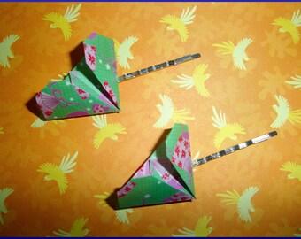 barrettes origami vertes en forme de coeur