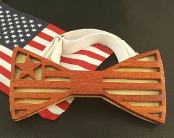 Wood bow tie... made bloodwood front and maple back... stars and stripes design.  Great Father's day,  Christmas or birthday gift.