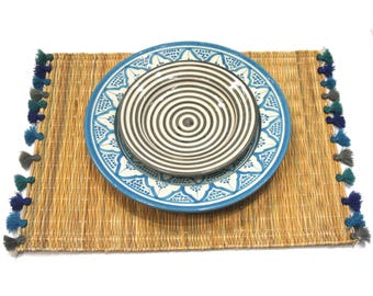 LOLA placemats with tassels - set of 2 AEGEAN SEA