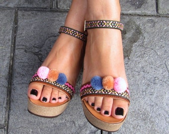 "Handmade Greek / Italian Leather Wedge Sandals with ethnic fabrics and yarn pom poms, Boho Style, ""MONACO"""