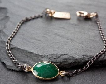 Simple Gemstone Bracelet- mixed metal