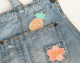 Aufnäher Aufbügler Patch Ananas Aprikot