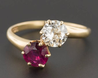 Antique Natural Untreated Ruby and Diamond Ring   Toi et Moi Ring   14k Gold Diamond & Ruby Ring   Antique Ring   EGL Certified