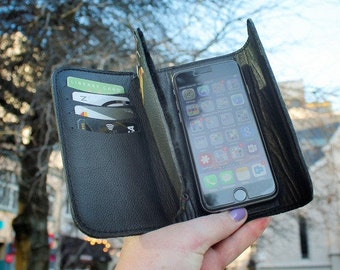 Leather Card-Safe Smartphone Wallet