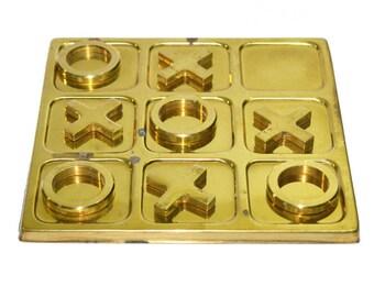 Brass Tic Tac Toe Game Vintage Tic Tac Toe Game Vintage Board Games Brass Coffee Table Game Table Top Decor
