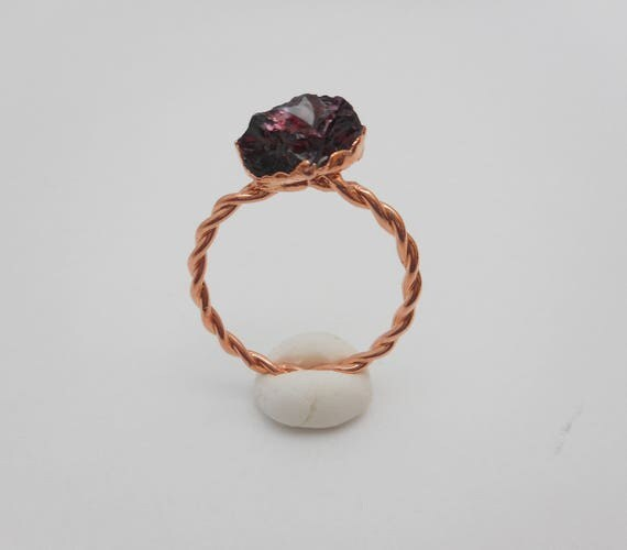 Raw Garnet Copper Ring - Garnet Electroformed Ring - Rustic Ring