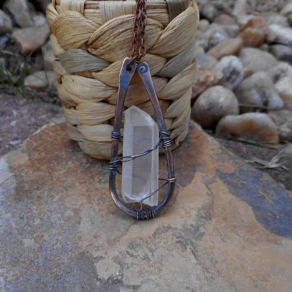 Lemurian Quartz Copper Wire Wrapped Pendant - Copper Necklace - Crystal Quartz - Lemurian Quartz Necklace