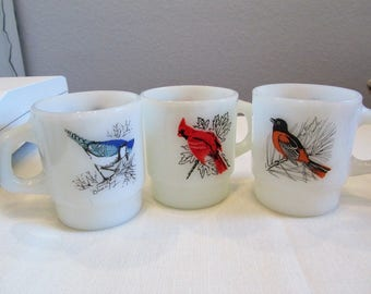 3 Vintage MCM Fire King Song Bird Mugs Exc Condition