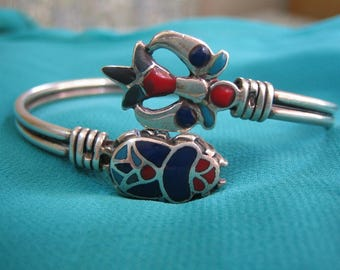 Unique Egyptian Bracelet, Egyptian Sterling Silver bracelet, Egyptian Lotus flower, Egyptian scarab, ägyptisches armband