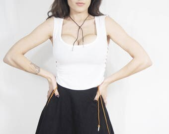 White BOHO Top Leather Lace Up Sides • Howlite Stone • Upcycled T-Shirt • Boat neck • Native American •  Rocker Biker Tank •Corset •Festival