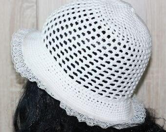 Crochet Summer Romantic Hat Cotton Size 54/55 cm