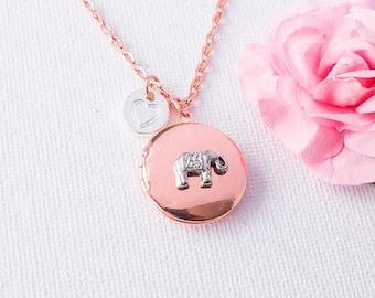 VACATION SALE Elephant necklace, elephant locket, rose gold locket,keepsake, Rose gold locket,photo locket, elephant, keepsake gift,  RGPIEL