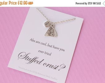 VACATION SALE Silver pizza necklace, Message card necklace, inspirational message necklace, christmas gift, message card necklace, MCNPIZZ01