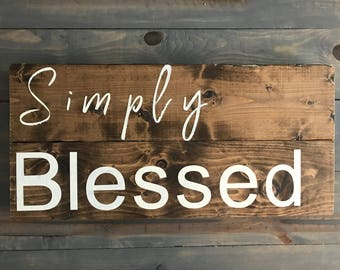 Simply Blessed Wood Sign