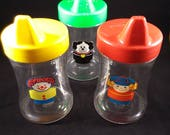 Chunky Little People Child's Sipper Cup, Set of Three, Early 1990s, Read item Description; View all photos