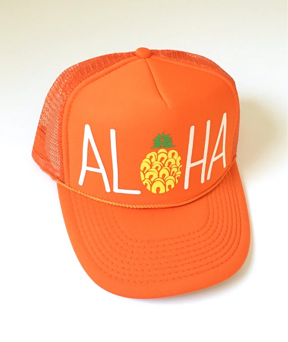 Aloha Trucker Hat Orange Screen Print| Aloha Hat| Hawaii Hat| Pineapple Hat| Pineapple| Beach Hat| Orange Hat