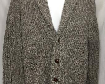 Vintage PRINGLE Of Scotland Men's Cardigan Sweater Large Shawl Collar Gray Wool