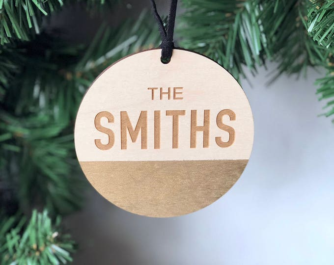 Custom Circle Family Ornament- Personalized Last Name Ornament - Wood