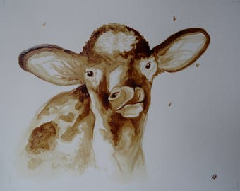 Calf coffee painting