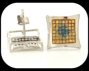 14K White Gold 0.75CT Canary & Black DIAMOND Princess-Cut Invisible-Set Screw Back STUD EARRINGS