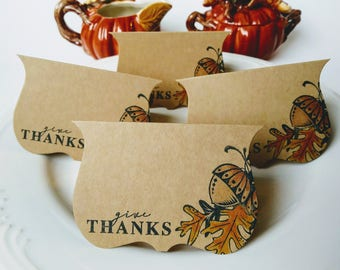 Thanksgiving place cards, thanksgiving name card,stamped fall leaves with acorn, table place cards/set of six
