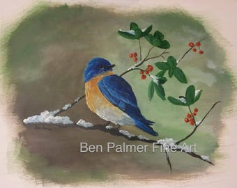 Bluebird Print / Poster by Ben Palmer Fine Art *affordable aesthetic high quality artwork*