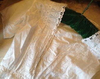 Edwardian lace chemise/jacket/top. 36 bustx17 length. Strong