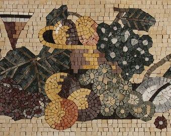 Fruits and Wine Handmade Kitchen Art Marble Mosaic KB151