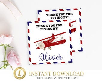 Airplane Favor Tags, Airplane Birthday, Airplane Party, Airplane Favor Tag, Airplane Baby Shower, INSTANT DOWNLOAD, Airplane Thank You Tags