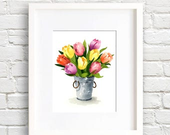 Tulip Art Print - Tulips Flower Wall Decor - Floral Watercolor Painting
