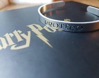 """Hand Stamped """"Protego"""" Harry Potter Inspired Bracelet"""