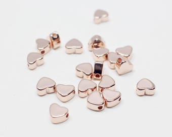 P0692/Anti-Tarnished Rose Gold Plating over Brass/Mini Heart Charm Connector/5x4mm/4pcs