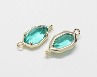 G0029/Emerald/Gold plated over brass/Unbalanced Octagon Glass Pendant Connector/6x15.5mm/2pcs