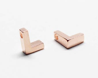 P0721/Anti-Tarnished Rose Gold Plating Over Brass /Brushed Mini Alphabet Charm/4.8x6.5mm/2pcs