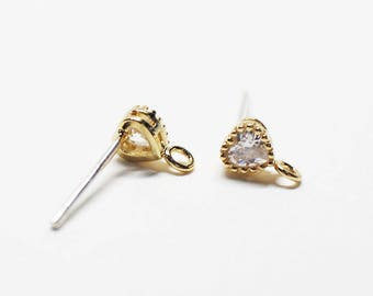 E0208/Anti-Tarnished Gold Plating Over Brass + Sterling Silver Post/Tiny Heart Cubic Stud Earrings/4x6.5mm(include ring)/2pcs
