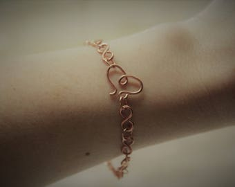 Copper wire infinity bracelet with heart clasp