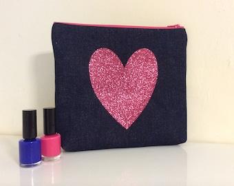 Glitter Makeup bag, cosmetic purse, makeup purse with glitter star, bright glitter zip purse, star wash bag,Denim  wash bag,makeup bag