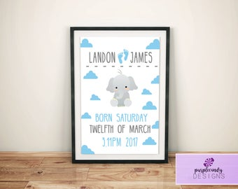Newborn Baby Boy - Personalised Digital Download Print
