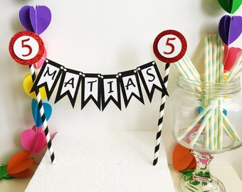 Bunting Name Cake Topper, One, 1st Birthday, First Cake Banner, Glitter Topper, Any Name, Any Age, 18, 21, 30, 40, 50, 60, 70, Cake Top