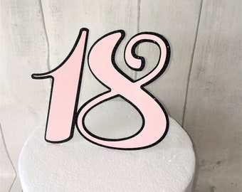 18 Birthday Number Age Cake Topper. Birthday Cake Topper.  18th Birthday. Eighteen. Special Celebration. Cake Centrepiece. Freestanding
