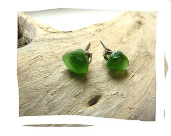 Stud Earrings natural sustainable organic pieces of glass polished sea green